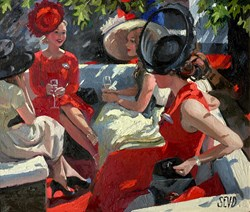 Ladies Day Ascot by Sherree Valentine Daines - Original Painting on Board sized 14x12 inches. Available from Whitewall Galleries